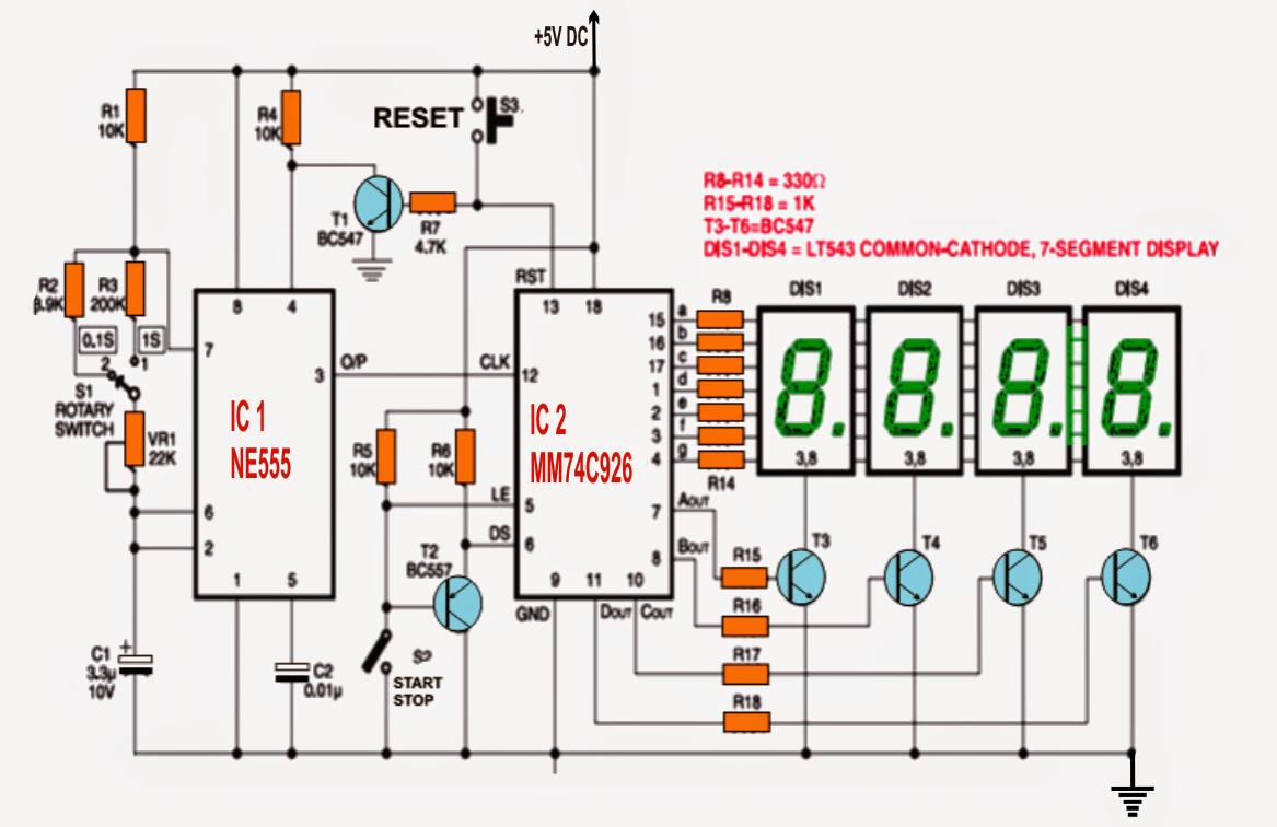 Simple Digital Stopwatch Circuit