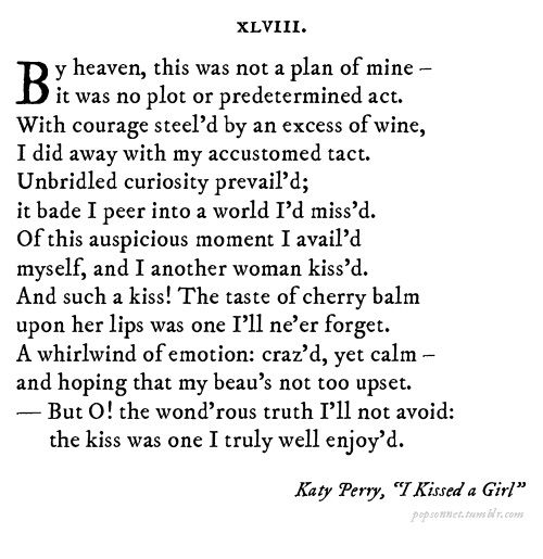 Katy Perry, I Kissed A Girl - Popsonnets