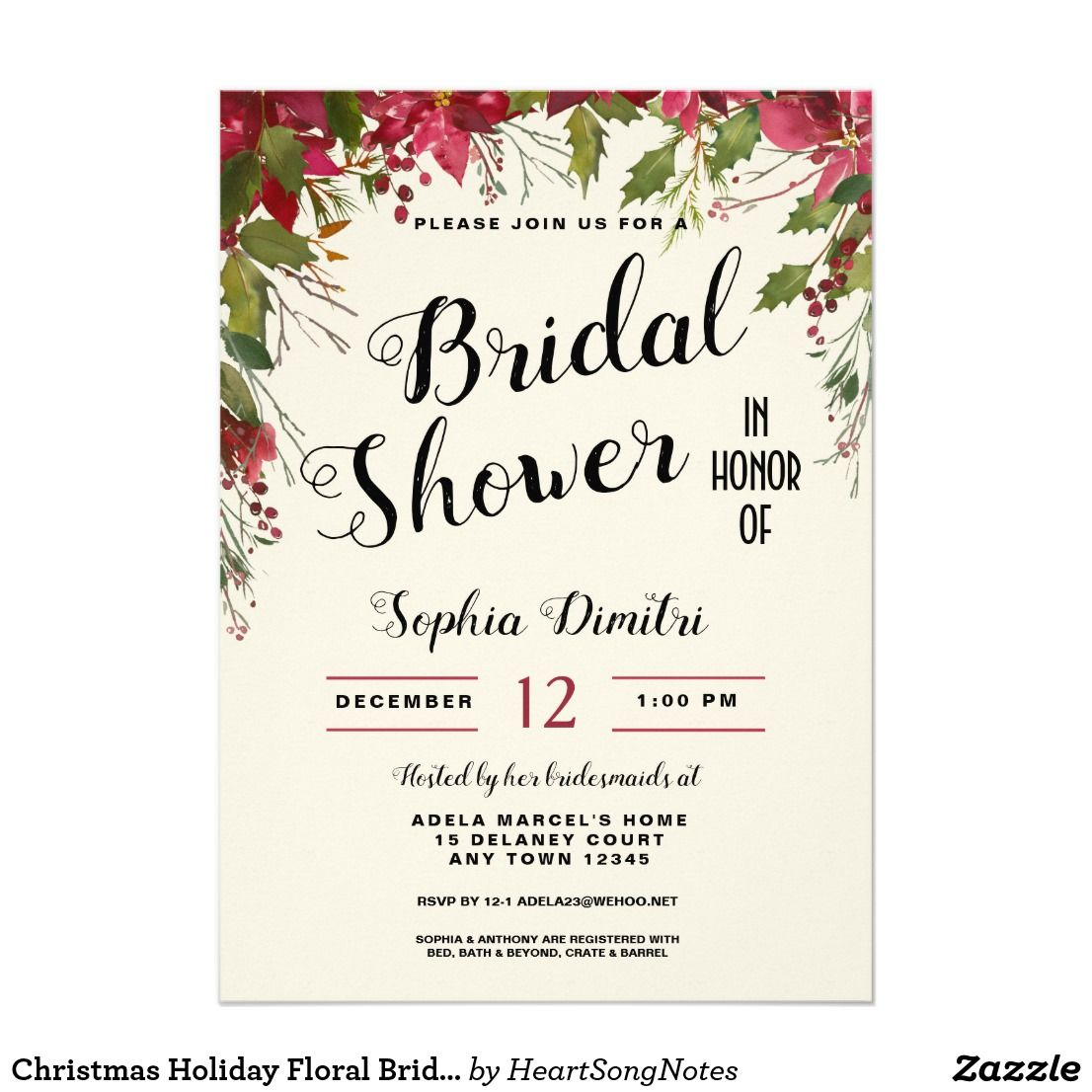 christmas holiday floral bridal shower invitation wedding