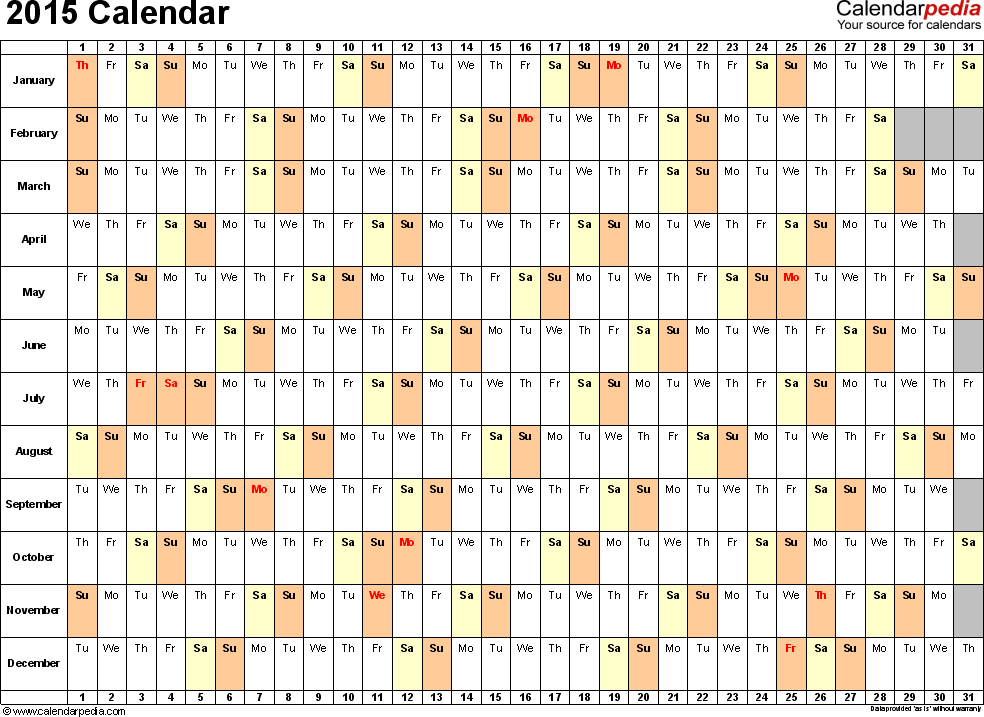 Template 3 2015 Calendar For Excel Days Horizontally Linear 1
