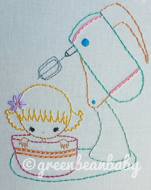 Kitchen kids- Pyrex, Mixer, and Soup bowl kids Digital Embroidery Patterns