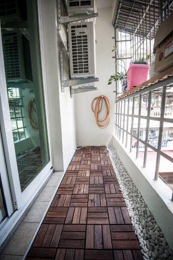 陽台after:重新粉刷後,自己鋪ikea的runnen戶外拼接地板,以及三分鵝卵石,簡單好看