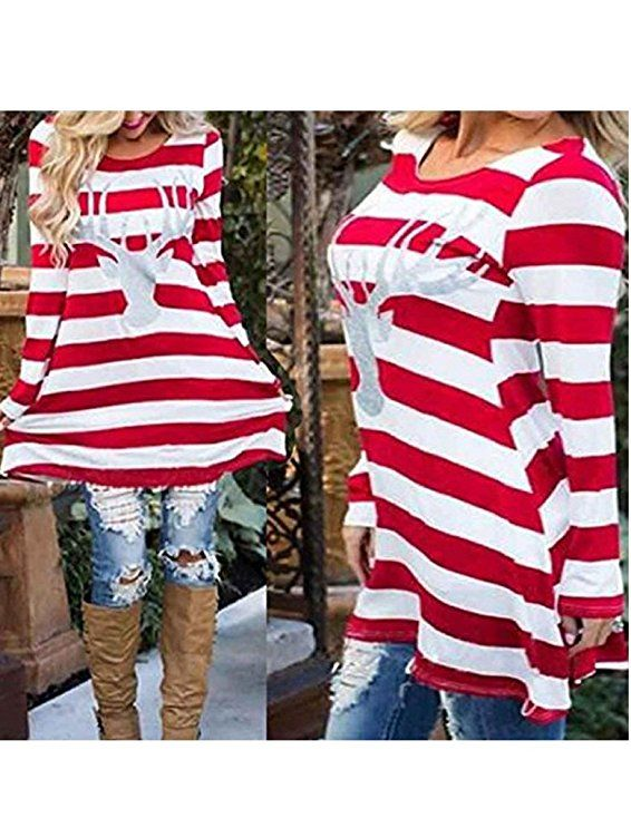 bb134af74e24a Women s Christmas Party Reindeer Sequin Print Stripe Elk T-shirt Dress Top  at Amazon Women s Clothing store