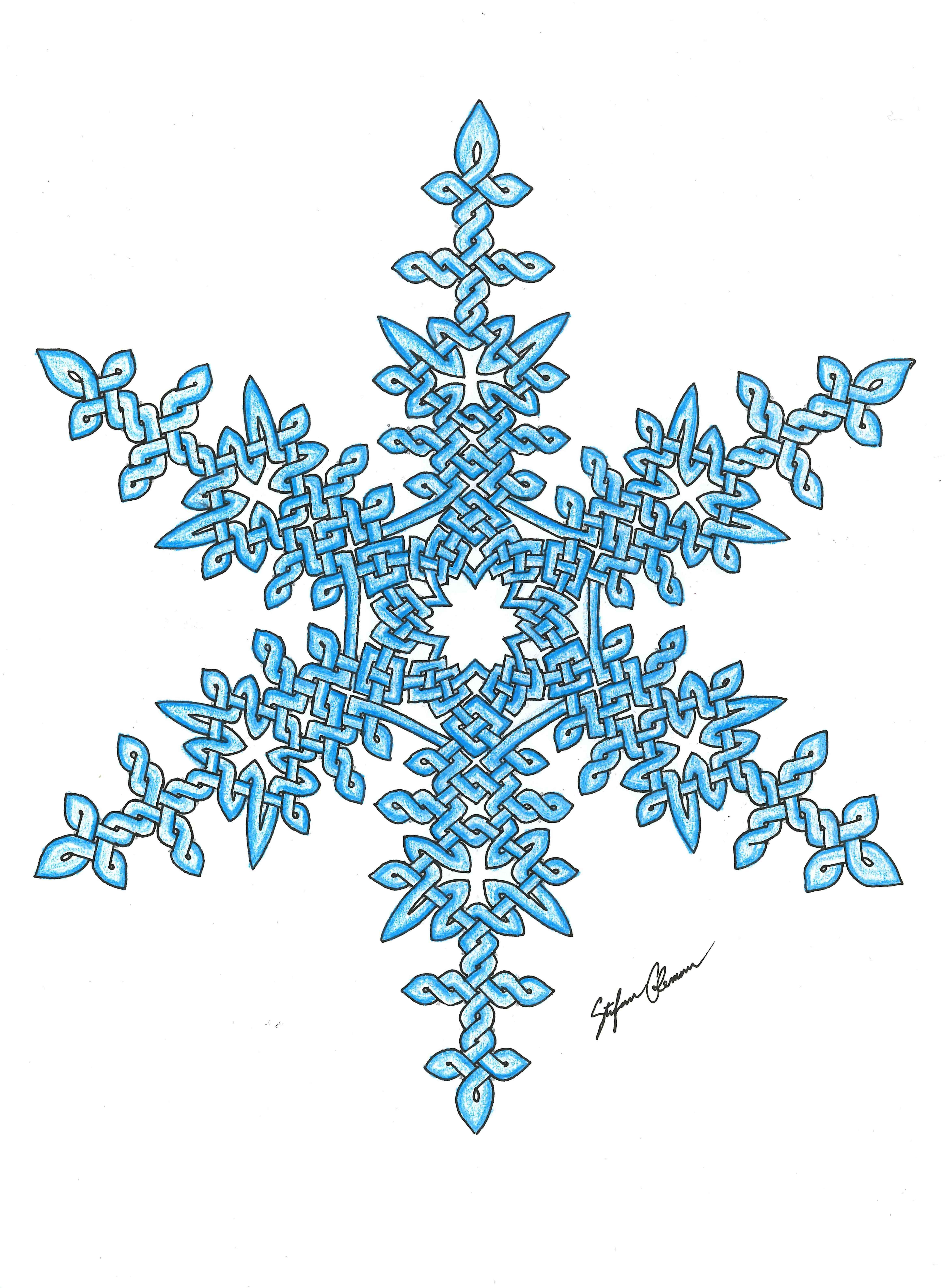 One of my favorite hand-drawn ones, this Celtic knot snowflake is colored very simply, just with a sky-blue colored pencil. I like the simplicity of it all while still having the weave through it.