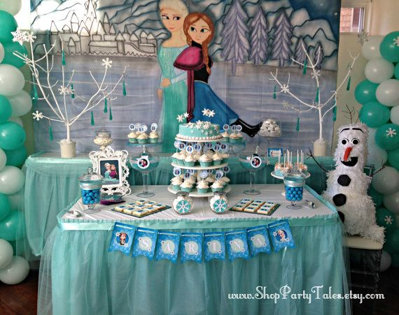 FROZEN disney Party table backdrop Hand Painted mural like shown