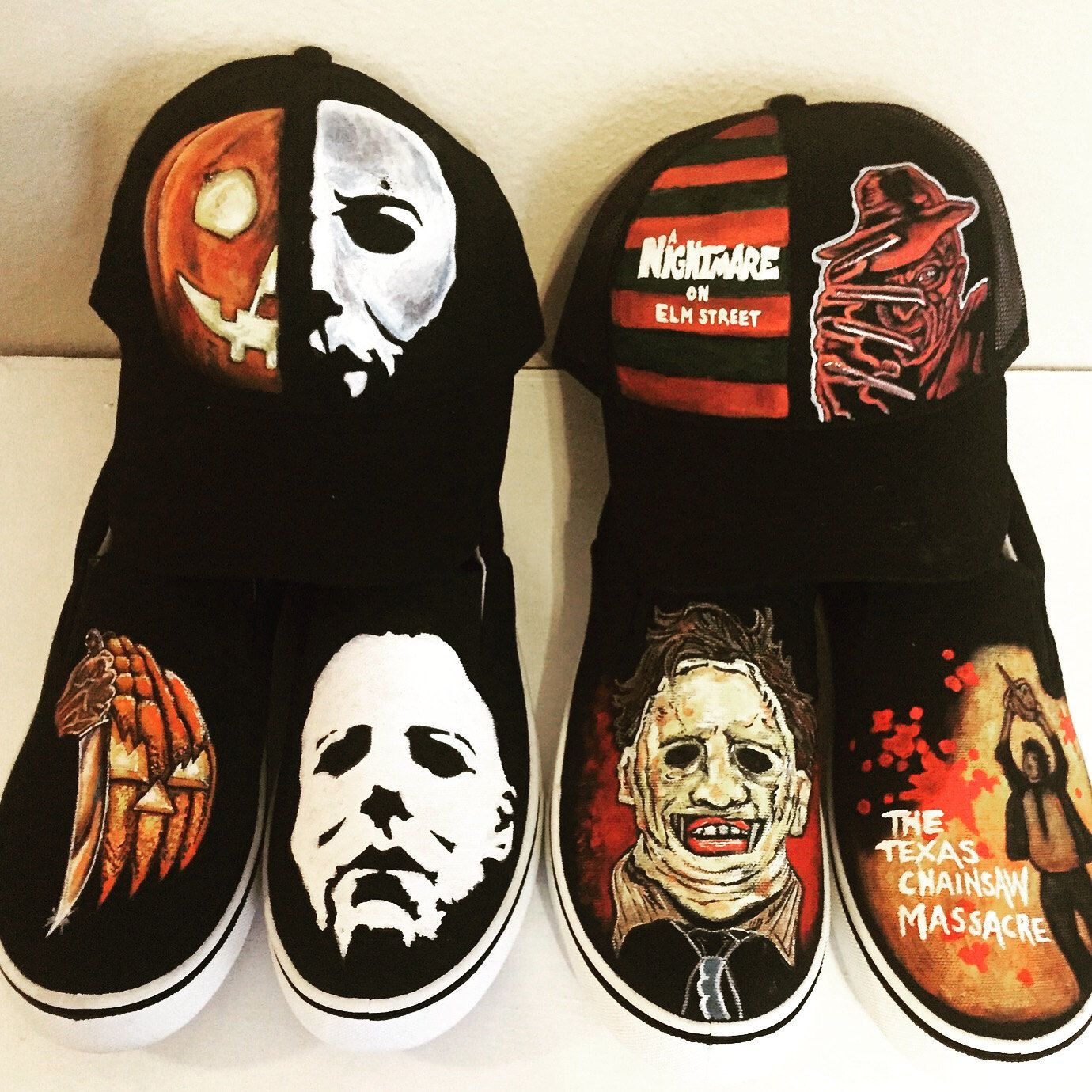 ebde02c9b237 Hand Painted   Customized Horror Themed Shoes and Caps by TidsquisiteCorpse  on Etsy