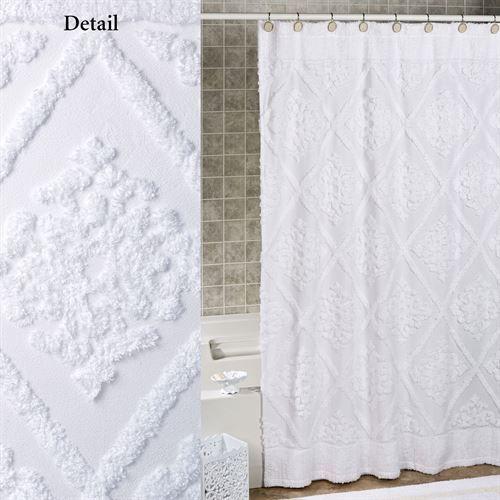 Belle Shower Curtain White 72 X 72 Cloth Shower Curtain Cotton