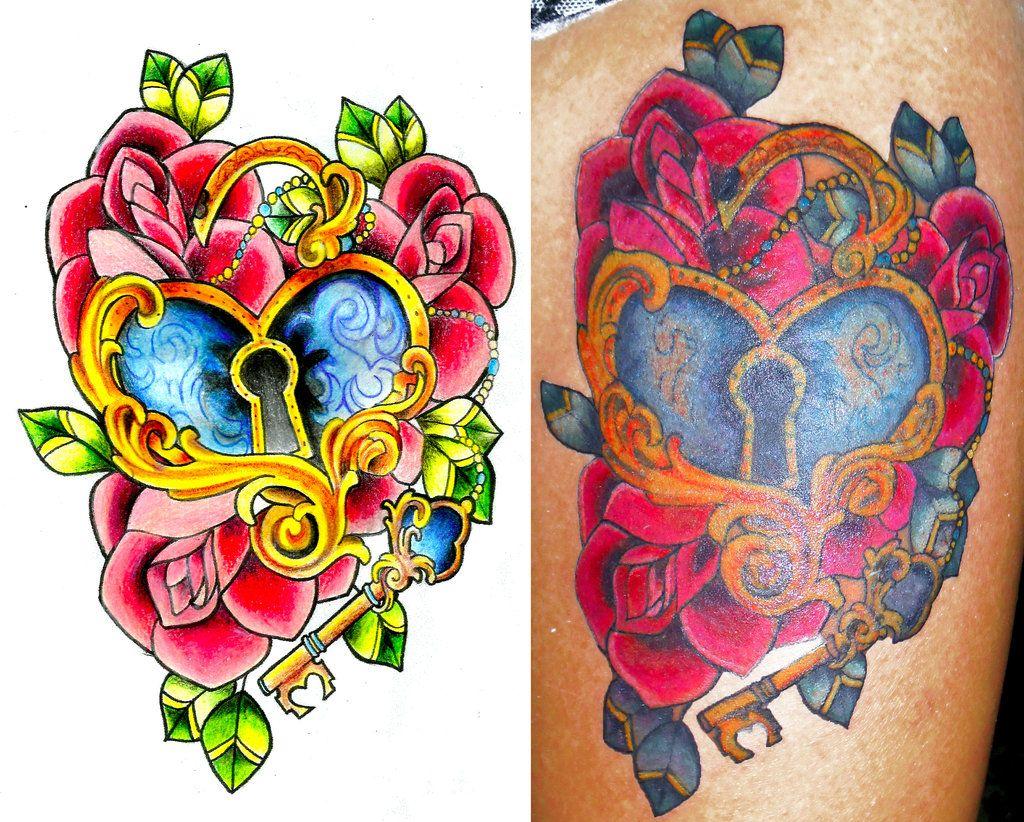 Pics photos heart lock flowers n key tattoo design - Key Tattoo Lock Tattoos Tattoo5 Com