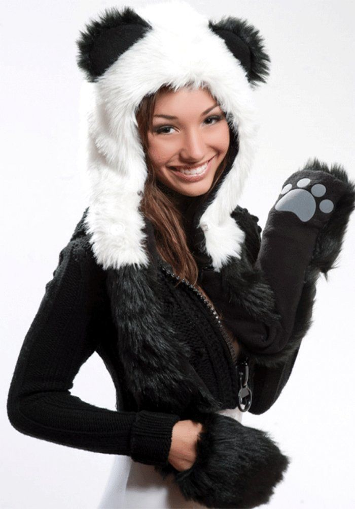 5b181c6d8752c panda hat with paws for women cute winter hats | I want this ...