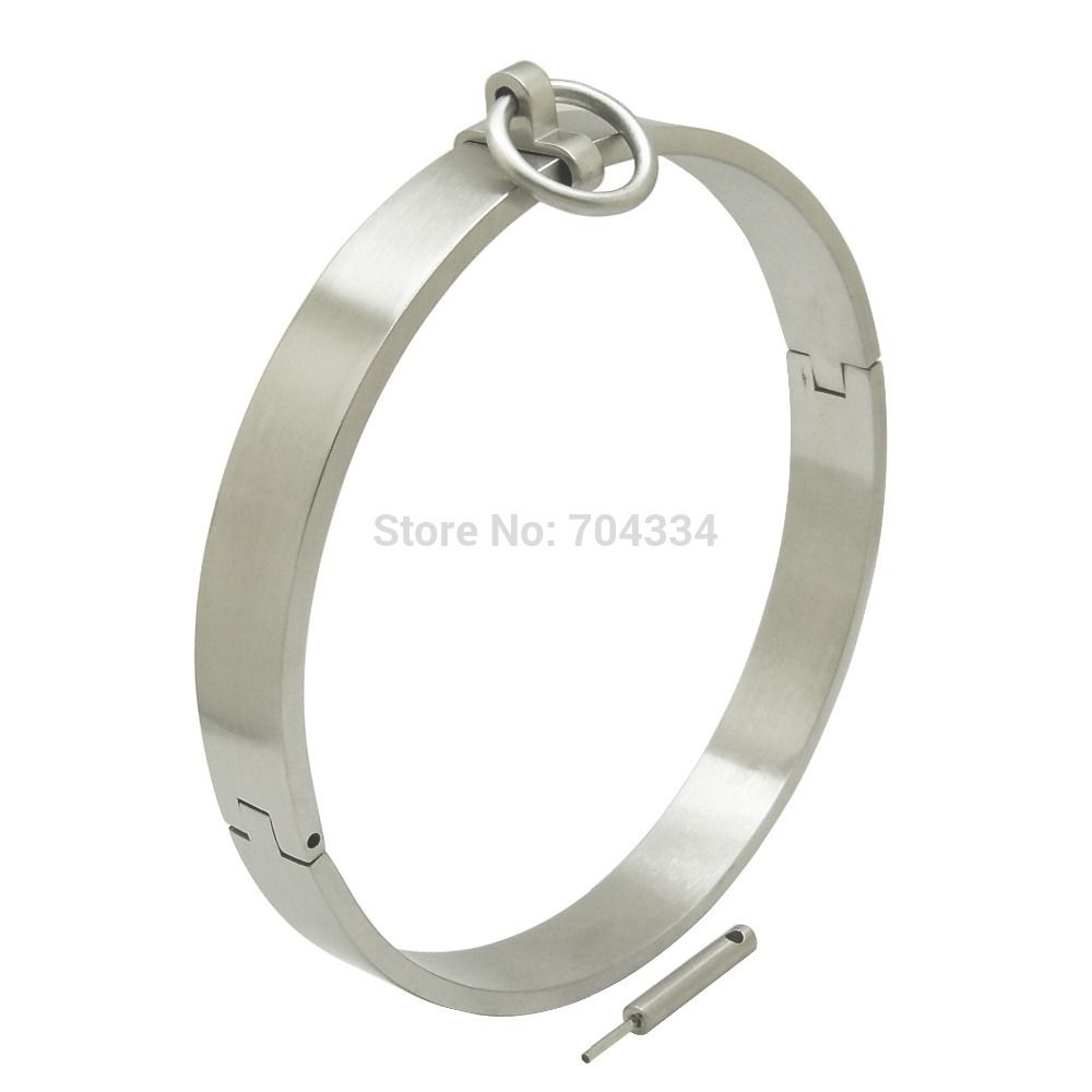 14 CM Polished steel locking slave neck cuff fetish choker locked bondage collar BDSM#locking steel collar