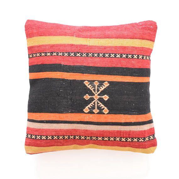 Cushion 18x18 Kilim Pillow Rustic Pillow Floor Cushion Kilim square ...