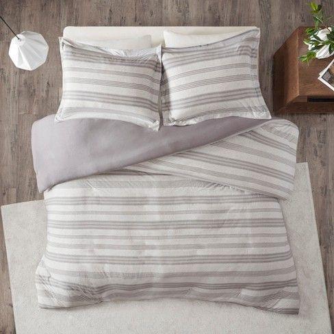 3pc Mason Stripe Print Ultra Soft Cotton Blend Jersey Knit Duvet Cover Set Duvet Cover Sets Comforter Sets Grey Comforter Sets