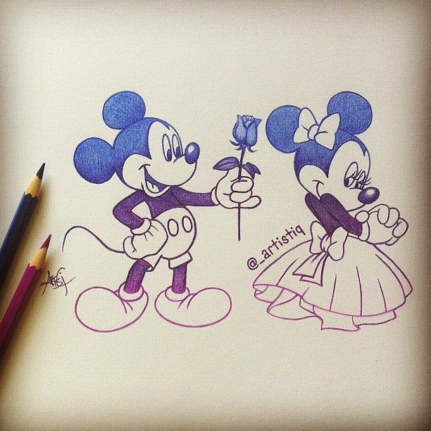 Artistiqart Mickey And Minnie Drawing Webstagram Disney