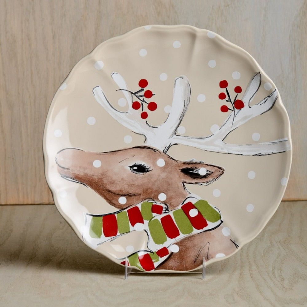 Casafina Deer Friends Dinner Plate Set - Linen : dinnerware oven safe - pezcame.com