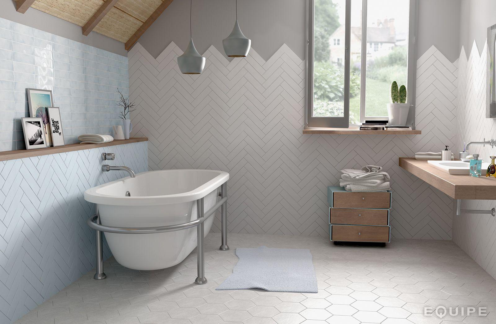 Dunas Blue Moon Matt White Matt Deco Signum Blue 6x24 6 Herringbone Tile Laundry In Bathroom Kitchen Tiles