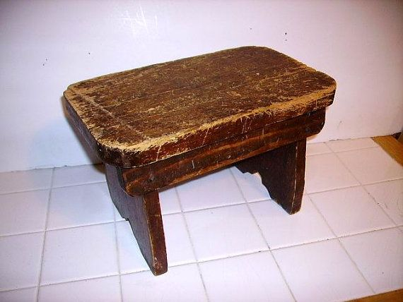 Antique Primitive Farmhouse Country Stool by BellaShaeCottage