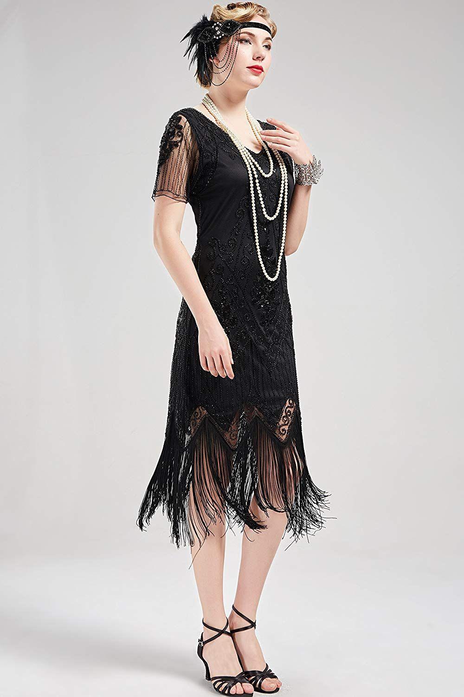ArtiDeco 1920s Kleid Damen Flapper Kleid mit Kurzem Ärmel ...