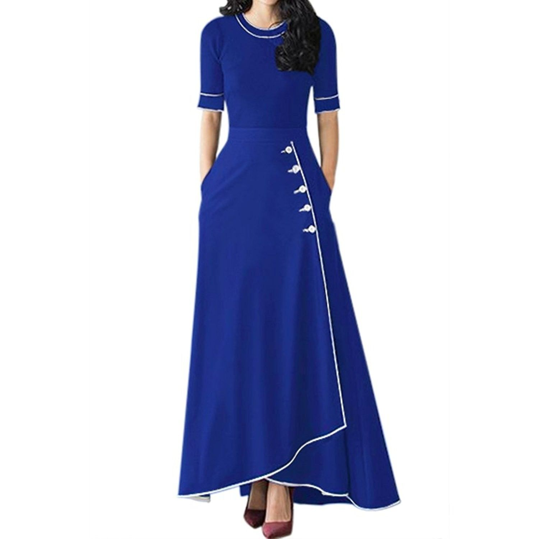 Womenus high waist front buttons a line flared long maxi skirt dress
