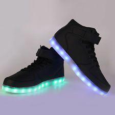 buy popular 412ed dad88 Luz LED USB de alta Top Luminoso Con Cordones Deportes Calzado Tenis 40  Negras Unisex