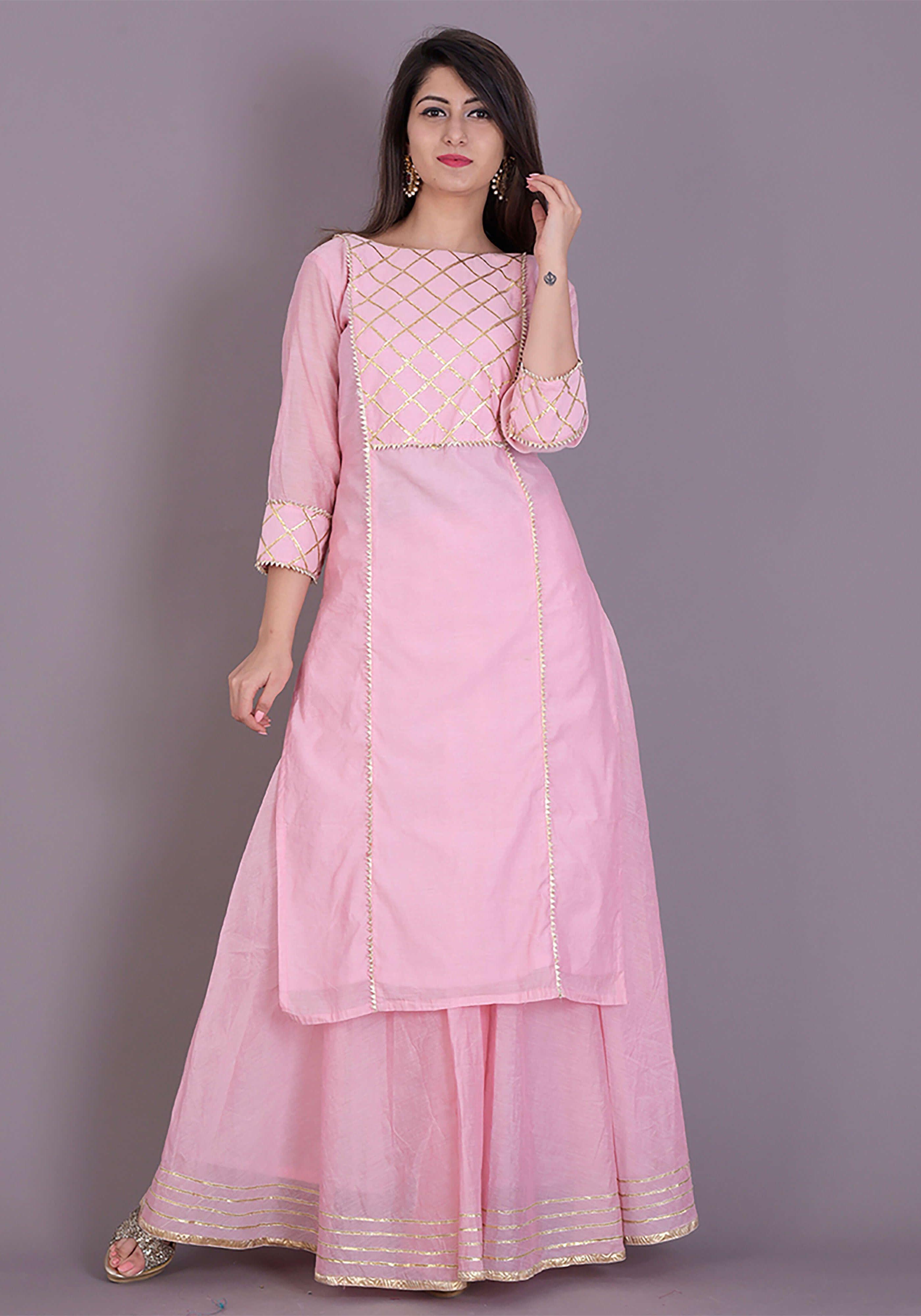d5e1aad61a1 Baby pink kurta skirt set emblisshed with gota work.  dresses  festive   weddingdresses  suitset  womenclothing  wedding