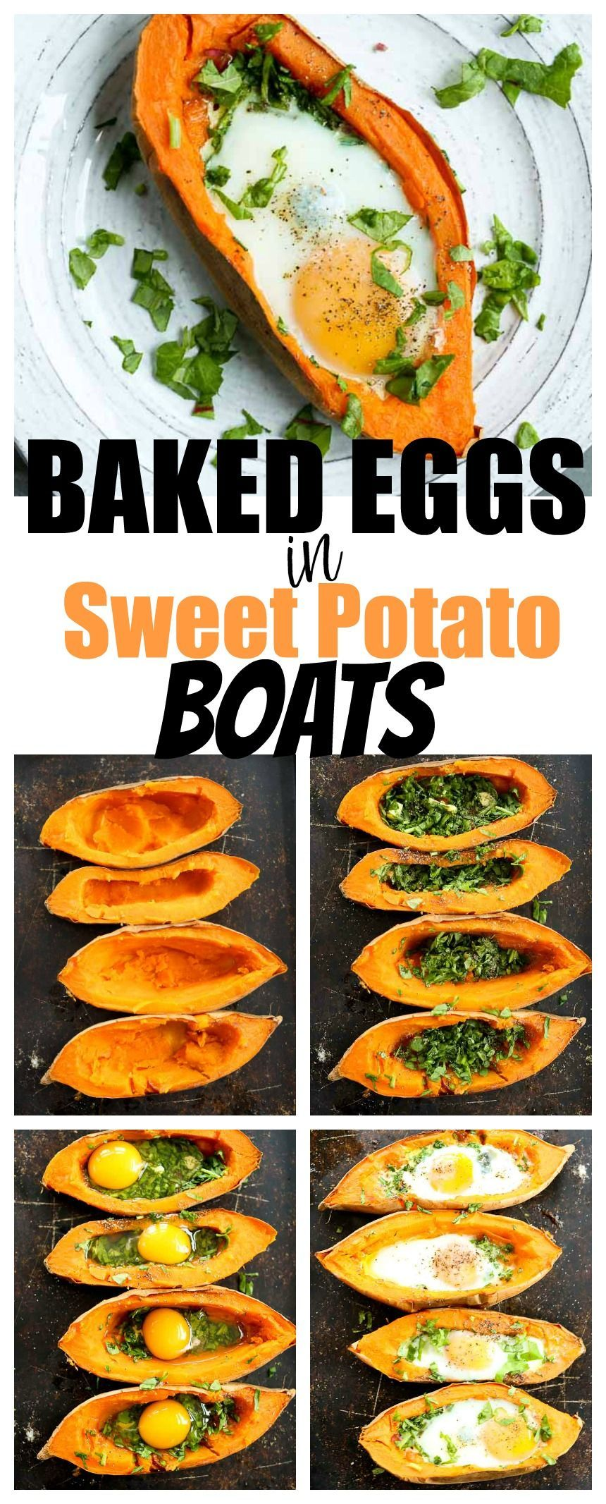 Baked Eggs and Spinach in Sweet Potato Boats Recipe -