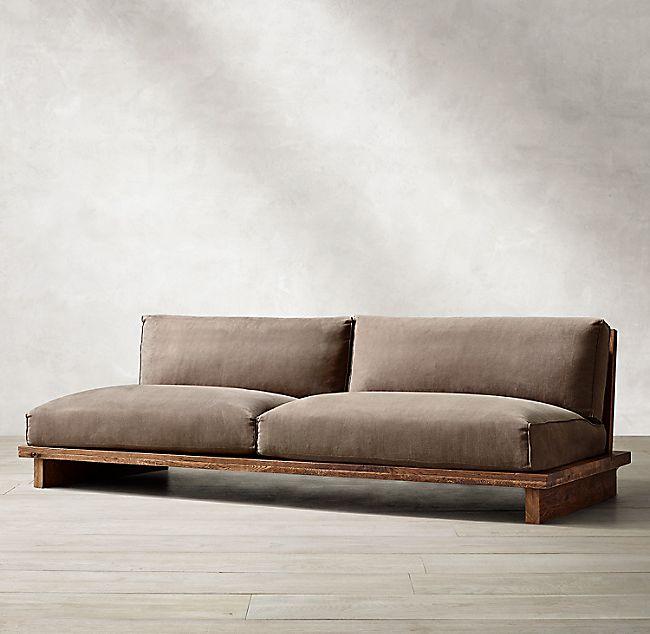 Oak Brûlé Sled Sofa