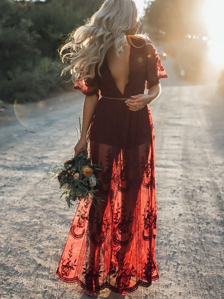 Black lace dress 3/4 sleeve may 2019 Pretty Sexy Lace Solid Color Short Sleeve Deep V Neck Side Split
