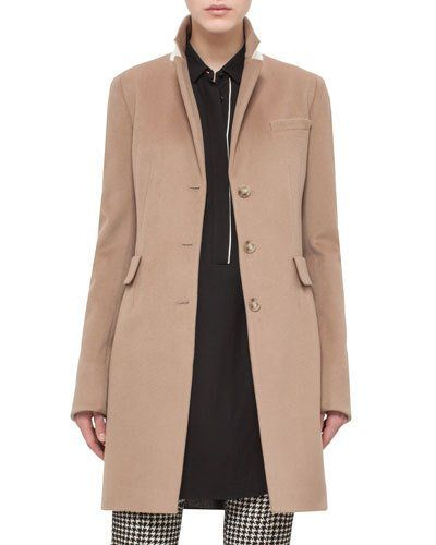 Long Gabardine Blazer Coat, Camel