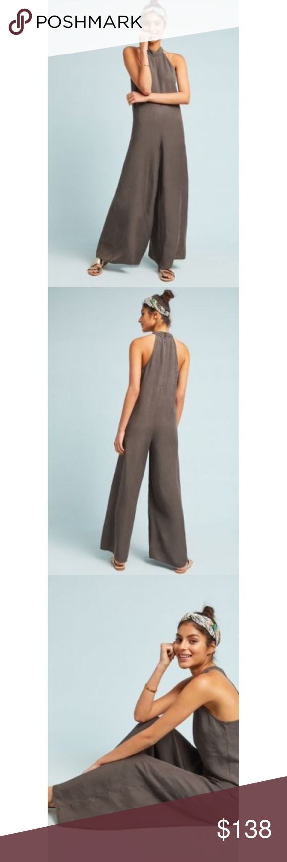 "Cloth & Stone Marfa Jumpsuit This incredibly soft jumpsuit is a light and breezy must-have for sun-soaked days and cool summer nights. Easy to wear, easy to love is the motto of the Anthropologie exclusive line Cloth & Stone. Each piece begins with an effortless silhouette, before being imbued with personal touches such as specialty washes, rich textures and seasonal hues.     Lyocell     Halter-style neck     Wide-leg silhouette     Button back     Machine wash     USA      Regular: 54.25""L     29.25"" inseam new with tag cloth & stone Pants Jumpsuits & Rompers"