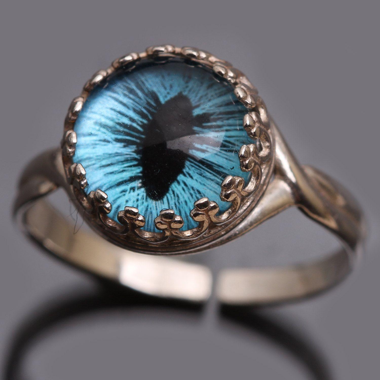 Silver Steampunk Ring Evil Eye Ring Dragon Eye Ring Sterling Silver Ring By…