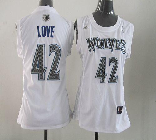 Timberwolves #42 Kevin Love White Women Fashion ...