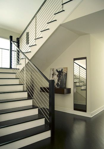 love dark wood and white staircases for the home pinterest treppe treppengel nder und. Black Bedroom Furniture Sets. Home Design Ideas