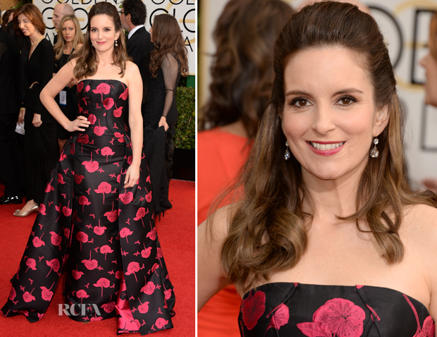 Tina Fey In Carolina Herrera – 2014 Golden Globe Awards