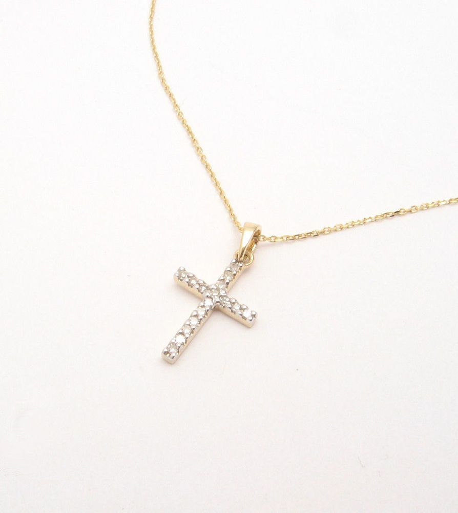14k yellow gold smaller diamond cross pendant necklace with 16 chain aloadofball