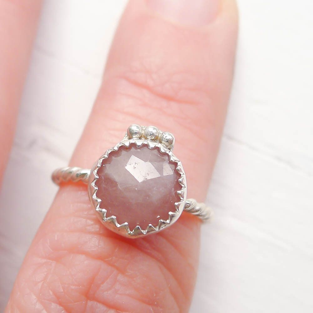Peach Sapphire Ring with Sterling Silver Crown | Peach sapphire ...