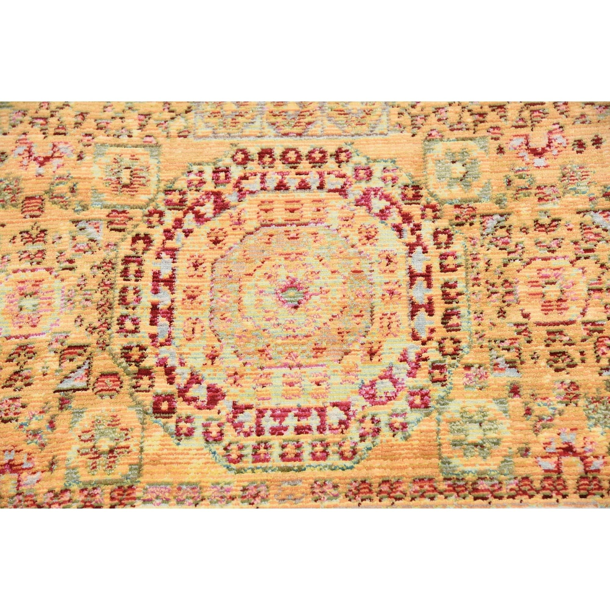 4f183a44ff9 Aria Gold Brown Medallion Square Rug (8  x 8 )