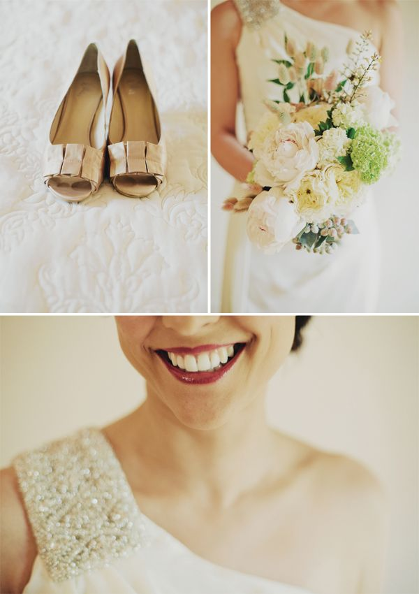 Gold shoes, a gorgeous bouquet and a shoulder strap encrusted in pearls.