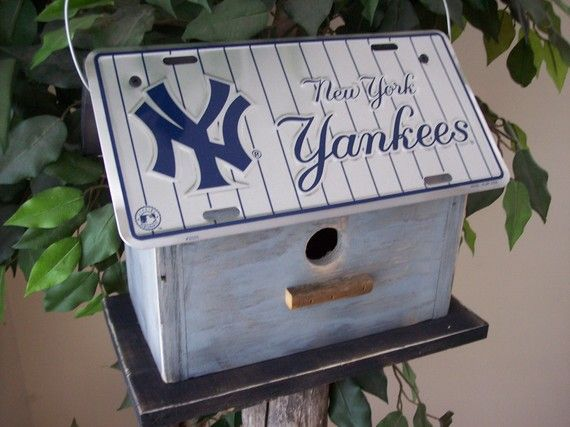 New York Yankees Baseball License Plate Birdhouse Primitive