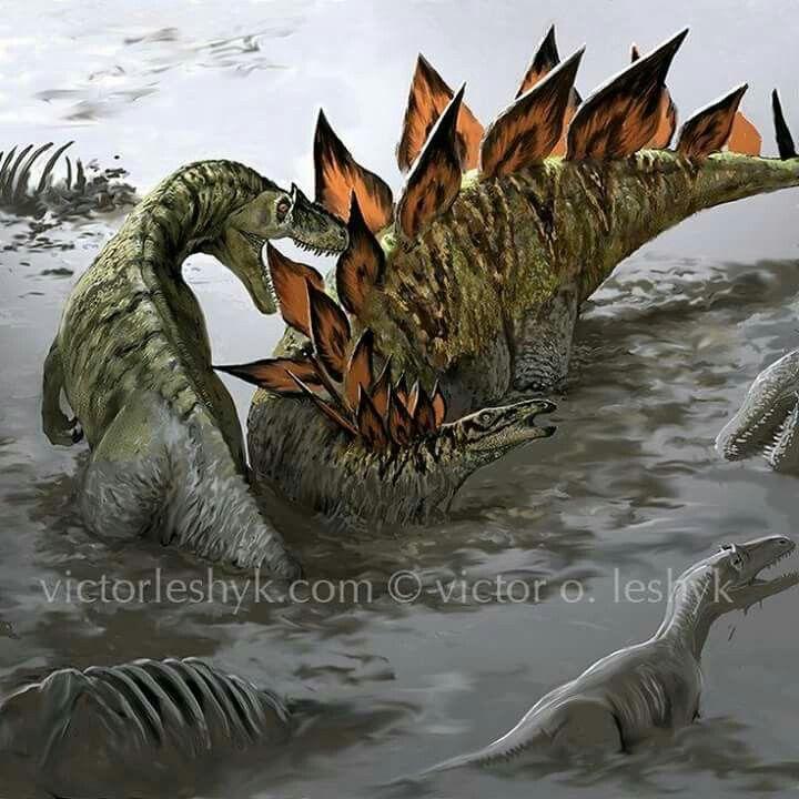 *Allosaurus & *Stegosaurus. Artwork by Victor O. Leshyk ...