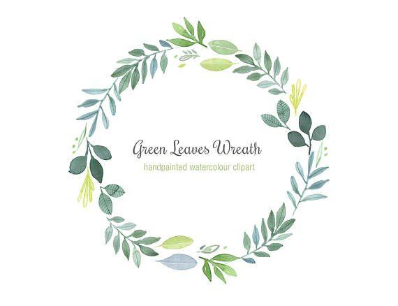 89c6faa8e3e5 Hand-Painted Watercolor Wreath Green Leaves Clipart Foliage