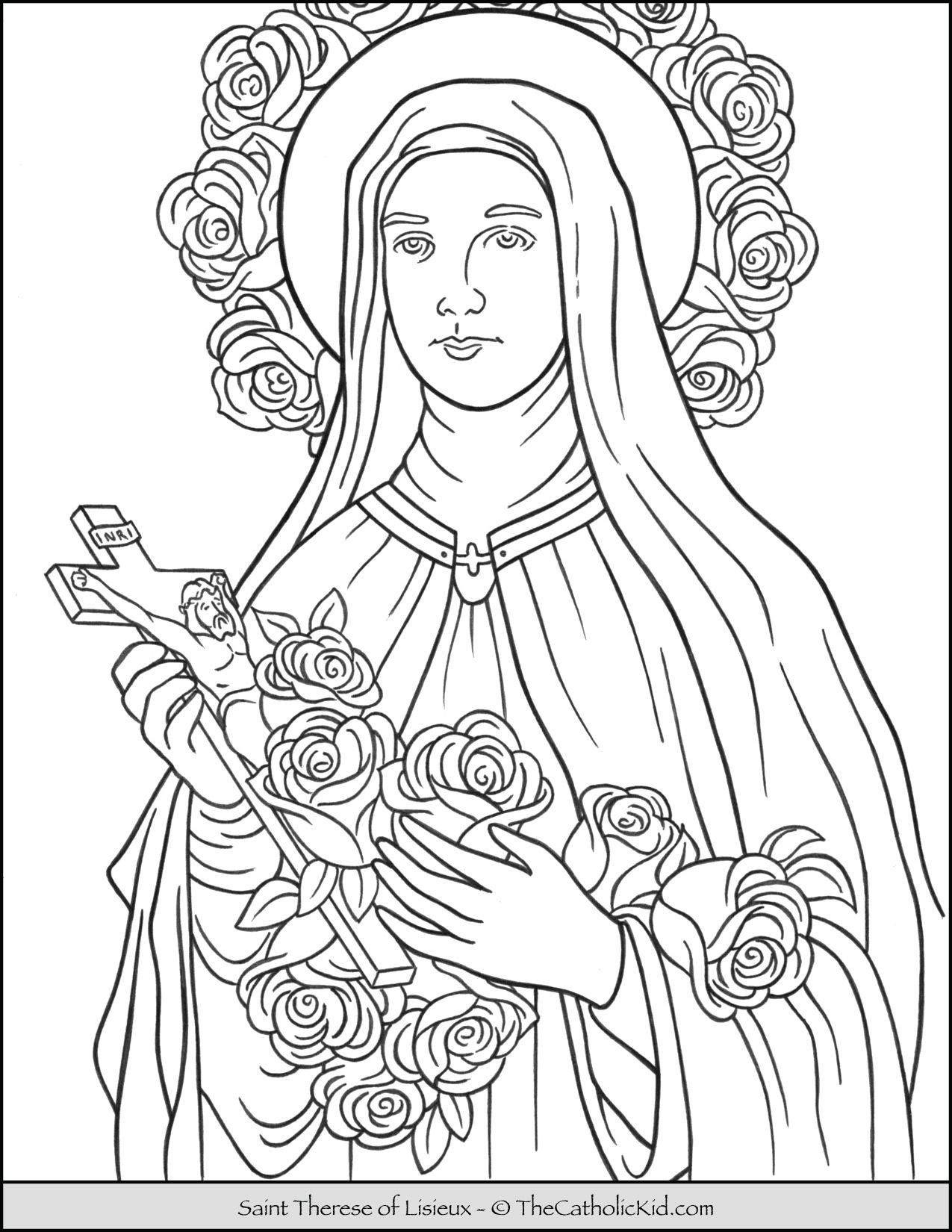 Saint Therese Of Lisieux Coloring Page Thecatholickkid Com In
