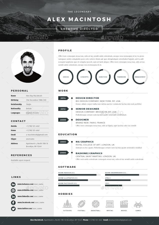 Mono Resume By Ikonome Graphicriver More Curriculum Diseno