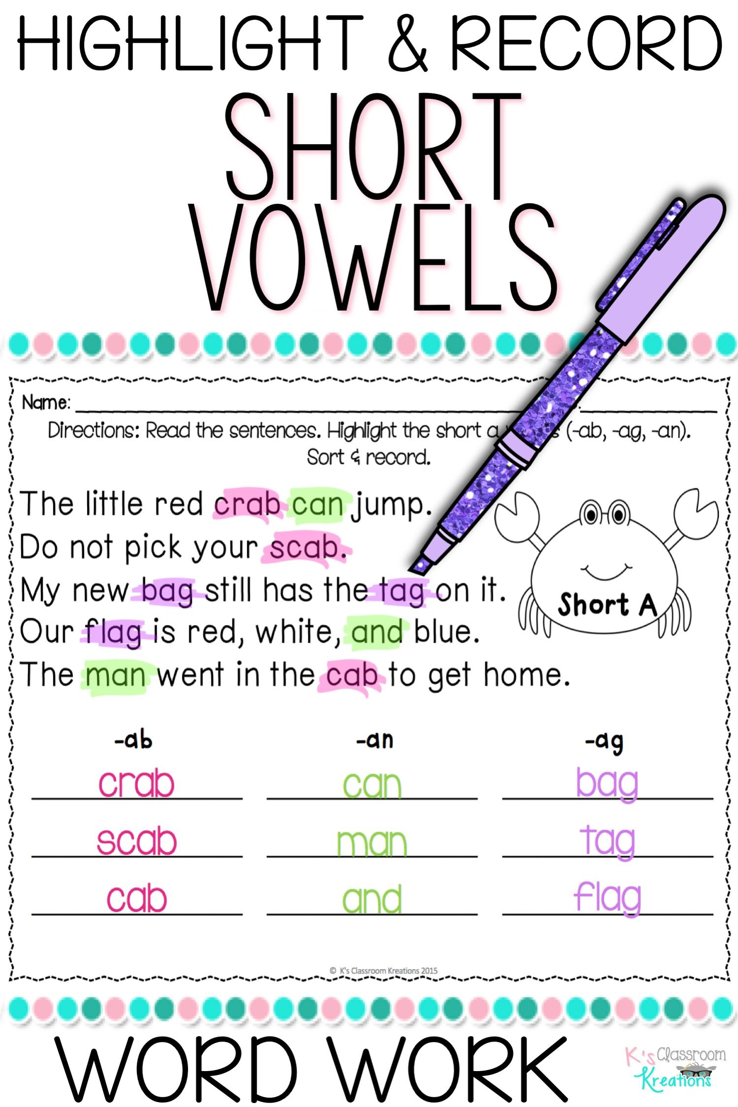 hight resolution of Short Vowel Spelling Practice   Word work