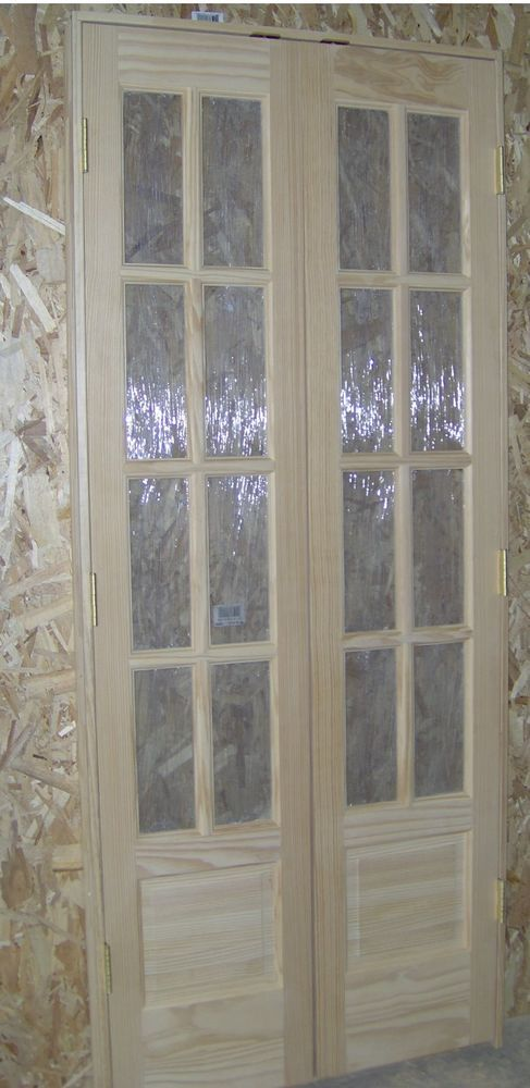 Two Pine 1 3 8 Thick 18x80 Eight Lite French Doors Prehung On 4 5 Jambs To Make A Center Swing Double Door Unit Each Has Three Hinges