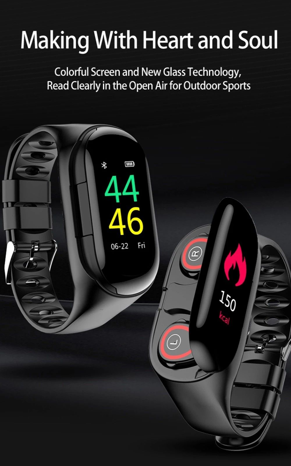Wear on your Wrist, TWS Bluetooth 5.0 Sports Earphone With