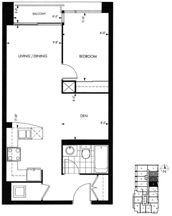 18 Yorkville Avenue Annex Toronto Condominiums 1 Bedroom Plus Den Floor Plan 616 Square Feet