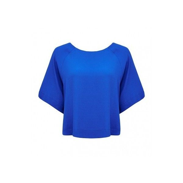 Forever New Kelly kimono sleeve tee (210 DKK) ❤ liked on Polyvore featuring tops, t-shirts, blue t shirt, crop t shirt, blue top, relaxed fit tee and crop tee