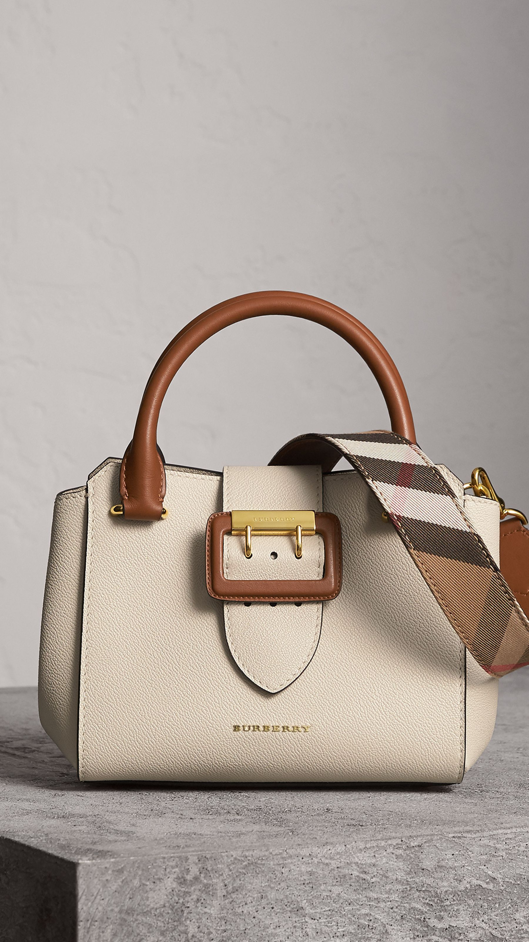 31d8fd033bd The Small Buckle Tote in Two-tone Leather in Limestone - Women   Burberry