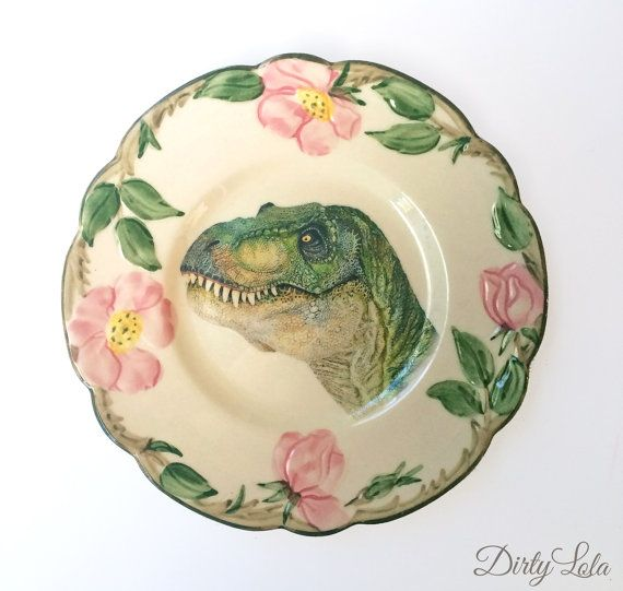 Vintage - Illustrated - Dinosaur - T Rex - Plate - Upcycled - Wall Display -  sc 1 st  Pinterest : dinosaur dinnerware - pezcame.com