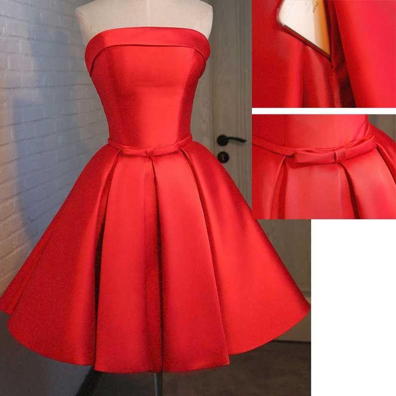 8ed5f50554 Elegante Rojo Corto Vestidos de Fiesta Para Adolescentes 2016 Satén Con  Marrón bolsillo Venta Caliente hasta la Rodilla Vestidos De Formatura Prom  ...